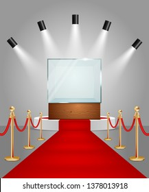 Illuminated white round podium with empty glass showcase, red carpet and gold rope barriers. realistic illustration. Display case for presentation exhibition.