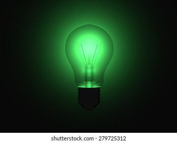 Illuminating green light bulb within a full dark room.