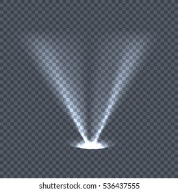 Illumination with bright light effects on transparent plaid background. Lighting with spotlights. Scene stage disco spotlight lights. Projectors light sources. Glowing glitter. Bright sparkle.