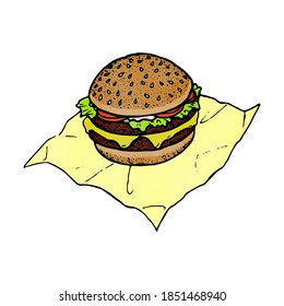 an illunstration of an hamburger on its wrapper