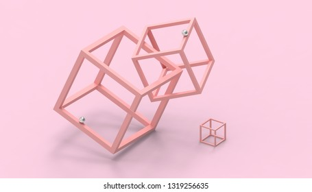 Illusion impossible shapes Box on Pastel Pink Background - 3d rendering