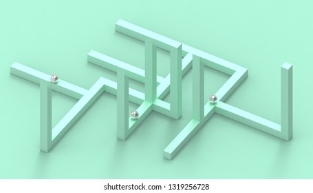 Illusion impossible shapes geometry Creative Line up Design  on Pastel Green Background - 3d rendering