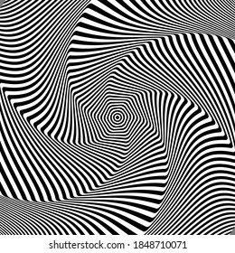 Illusion of rotation and torsion movement. Abstract op art design. Lines texture.