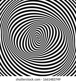Illusion of spiral swirl vortex movement. Op art lines pattern and texture.