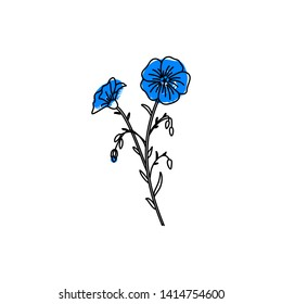 Illusration of the flax flower. Retro emblem For the design of linseed oil, and linseeds . Botanical icon in vintage and minimalist style.
