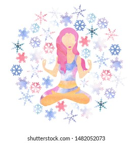 illustartion of woman with pink hair meditating in cold season with watercolor snowflakes flyinf around forming a circle