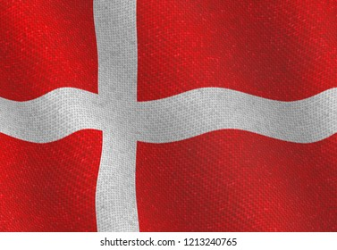 Illustraion of a flying Danish Flag with a fabric pattern
