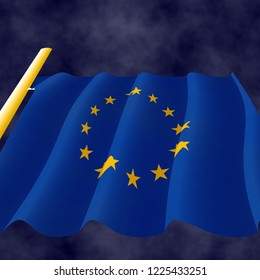 Illustraion of a flying Flag of European Union