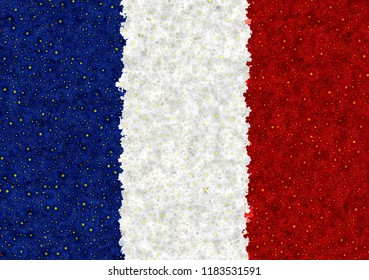 Illustraion of French Flag with a blossom pattern