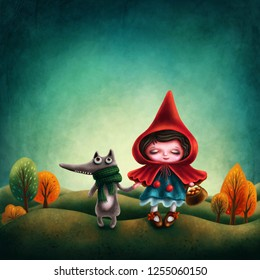 Illustraion of a Red Riding Hood and a Wolf