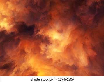 Illustrated background of roiling red and yellow clouds of intense energy and searing heat.