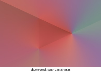 Illustrated background, triangle texture, video play button. Color pink, red.