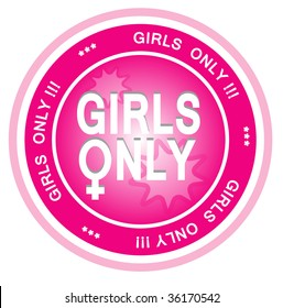 An illustrated badge symbolizes that something is just for girls. All on white background.