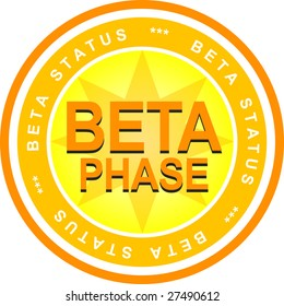 An illustrated badge that declares a beta status. All on white background.