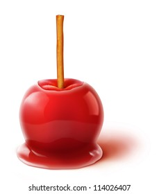 Illustrated Candy Apple with Cinnamon Stick