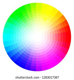 illustrated color wheel with all colors and gradients on a white background