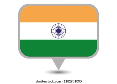 An Illustrated Country Flag of  India