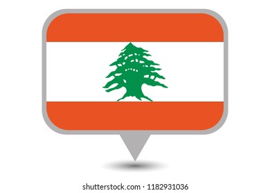 An Illustrated Country Flag of  Lebanon