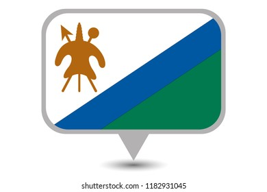An Illustrated Country Flag of  Lesotho