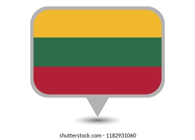 An Illustrated Country Flag of  Lithuania