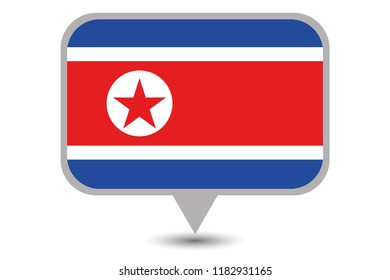 An Illustrated Country Flag of  North Korea