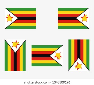 Illustrated Country Flag Reflected and Rotated of   Zimbabwe