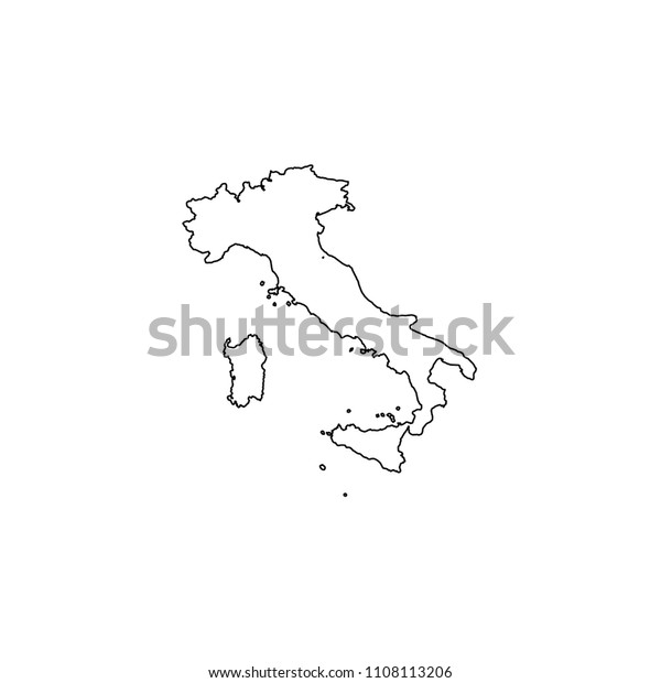 An Illustrated Country Shape of Italy