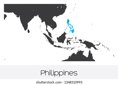 An Illustrated Country Shape of Philippines