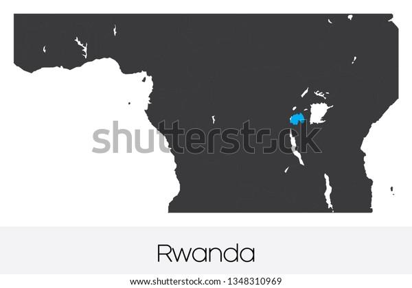 An Illustrated Country Shape of Rwanda