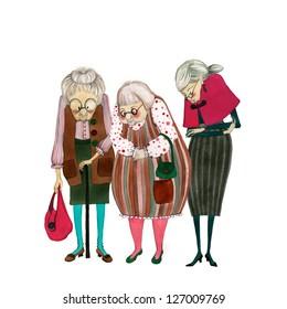 illustrated cute old ladies