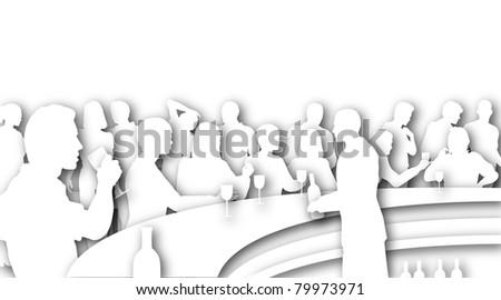 illustrated cutouts people wine bar drop stock illustration 79973971