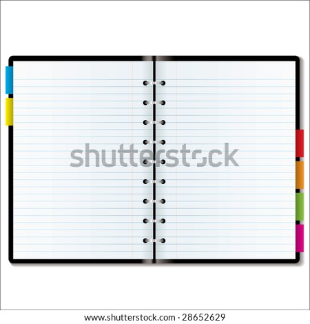illustrated diary organizer blank pages room stock illustration
