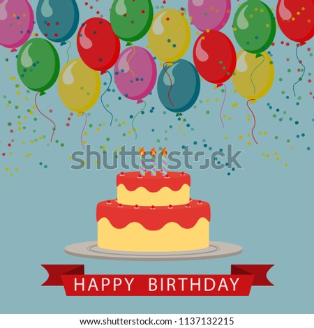 Illustrated Drawing Of A Birthday Cake With Balloons And Ribbon Greeting Inscription