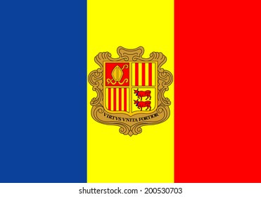 An Illustrated Drawing of the flag of Andorra
