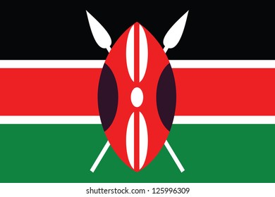 An Illustrated Drawing of the flag of Kenya