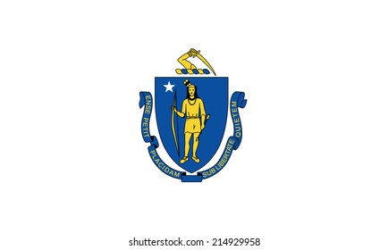 An Illustrated Drawing of the flag of Massachusetts state (USA)