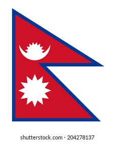 An Illustrated Drawing of the flag of Nepal