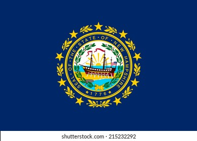 An Illustrated Drawing of the flag of New Hampshire state (USA)