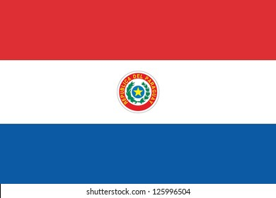 An Illustrated Drawing of the flag of Paraguay