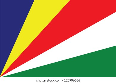 An Illustrated Drawing of the flag of Seychelles