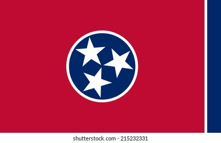 An Illustrated Drawing of the flag of Tennessee state (USA)