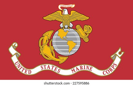 An Illustrated Drawing of the flag of United States Marine Corps
