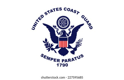 An Illustrated Drawing of the flag of US Coast Guard