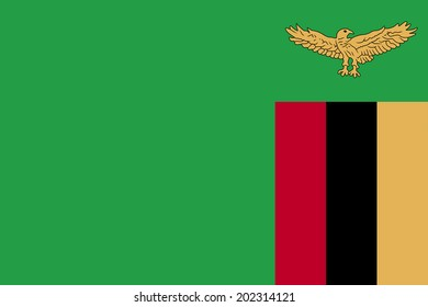An Illustrated Drawing of the flag of Zambia