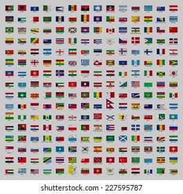 Illustrated drawing of flags on to wind of countries of world. 224 flags are located in alphabetical order from A to Z