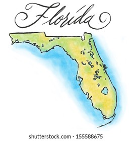 Illustrated Florida map.