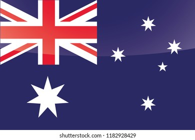 An Illustrated Glossy Country Flag of  Australia