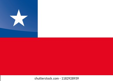 An Illustrated Glossy Country Flag of  Chile