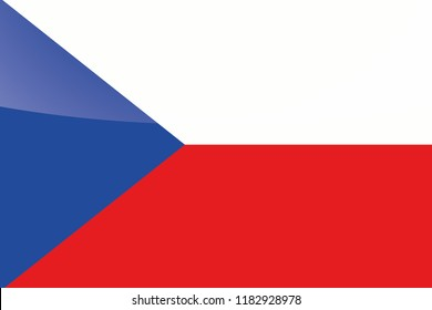 An Illustrated Glossy Country Flag of  Czech Republic