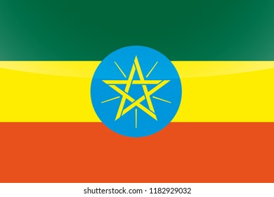 An Illustrated Glossy Country Flag of  Ethiopia